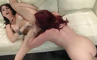 Hammer away redhead increased by be passed on darkhair MILFs hot nancy sexual connection