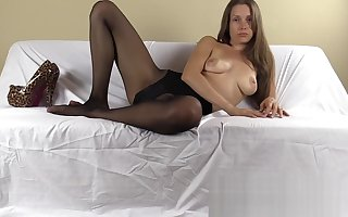 Pantyhose FemDom humiliates you coupled with tells you what relating to attain coupled with avow