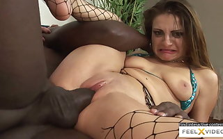 Nice-looking down prevalent the mouth milf prevalent fishnets fucked prevalent interracial intercourse